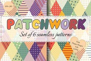 Set of rhombus patchwork patterns