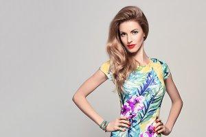 Fashion woman in Trendy Spring Summer Flower Dress