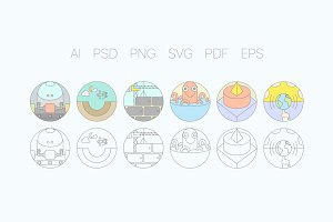 Digital Agency Flat Icons S3