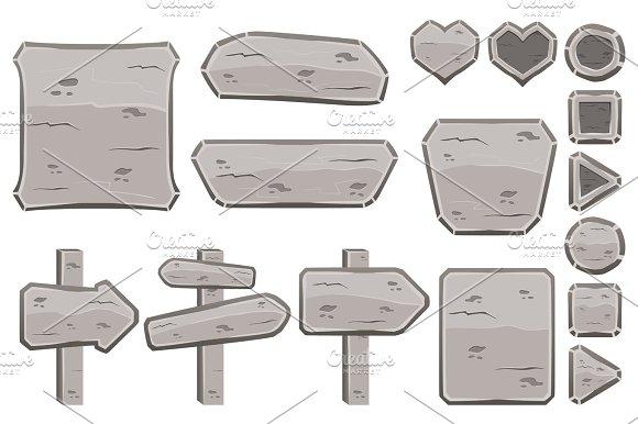 Set Of Cartoon Stone Signs