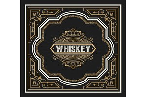 Whiskey label hand drawn vintage blackboard frame