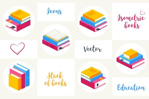 Vector isometric icon books