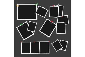 Empty Photo Frames Attached with Pins Vector Set