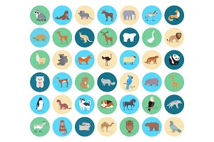 Domestic and Wild Animal in Circles Collection