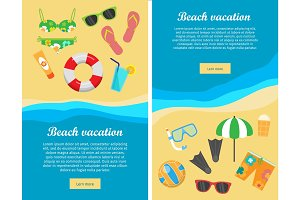 Beach Vacation Flat Design Vector Web Banners