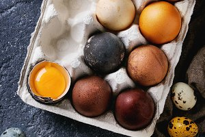 Brown colored easter eggs
