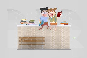Couple reading on a brick wall