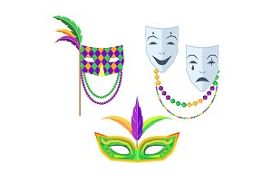Mardi Gras. Carnival Masks Isolated Illustrations