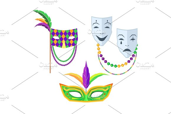 Mardi Gras Carnival Masks Isolated Illustrations