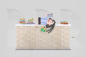Girl reading on a brick wall