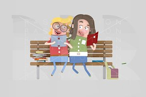 Couple reading on a bench park