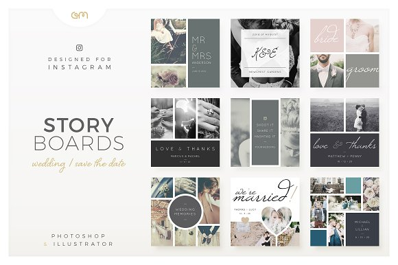 Storyboards Wedding Instagram Templates Creative Market