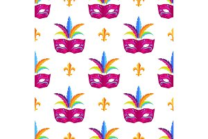 Mardi Gras Festival Mask Vector Wrapping Paper