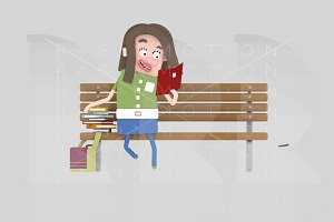 Girl reading on a bench park