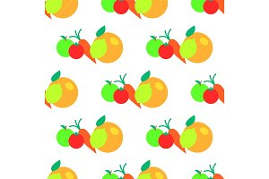 Fruits and Vegetables Vector Seamless Pattern