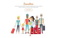 Travelers of Different Age with Suitcases Banner