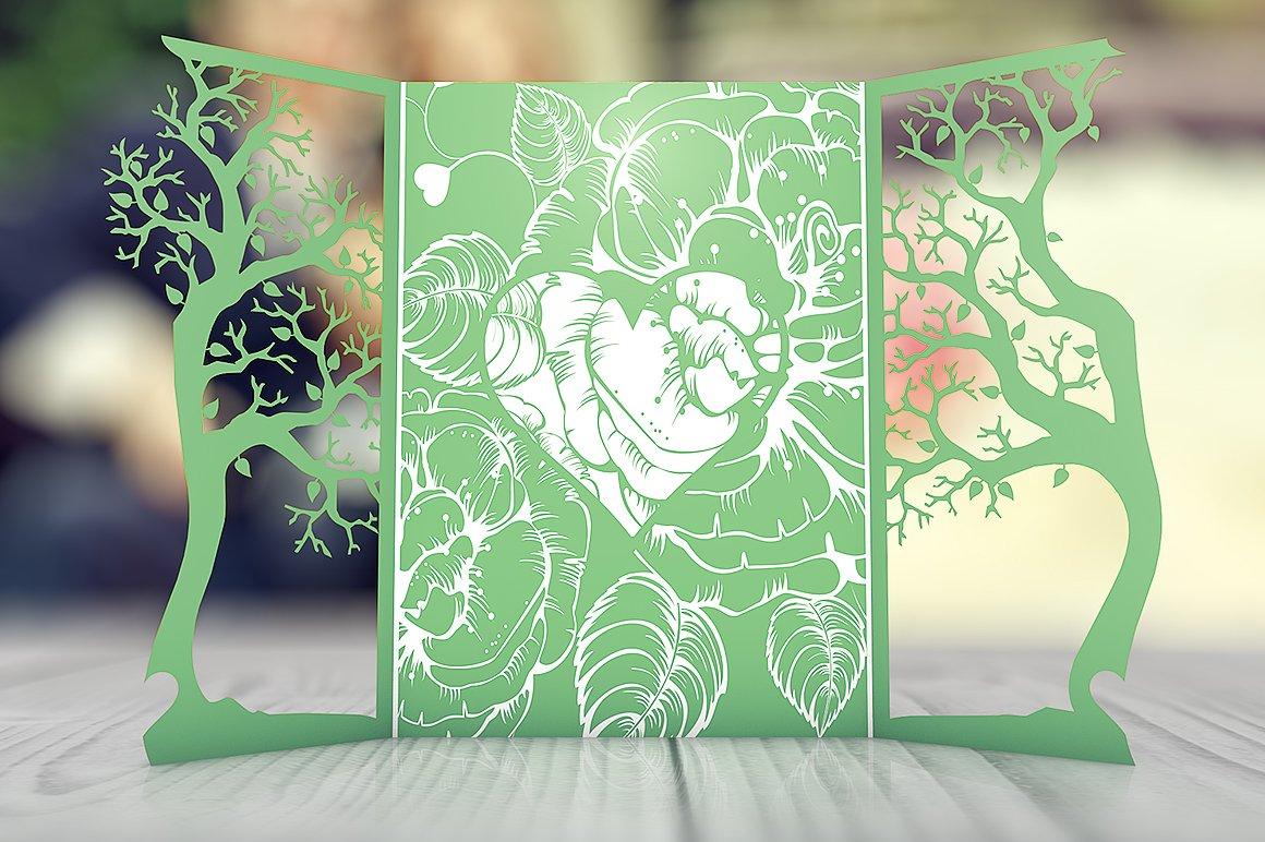 gatefold floral wedding invitation invitation templates creative
