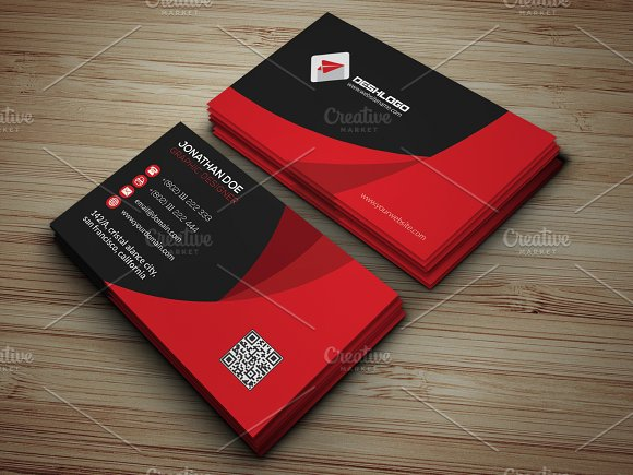 Red business card business card templates creative market accmission Gallery