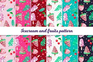 Ice cream  and fruits pattern