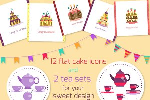 Sweet flat collection of cakes