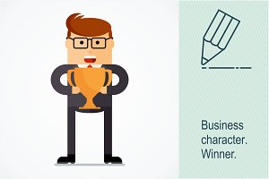 Business character. Winner