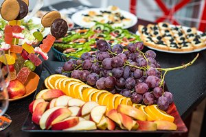 grape and fruit slices