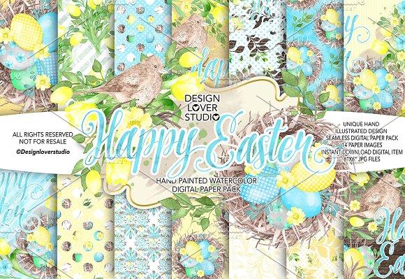 Watercolor Happy Easter Yellow DP