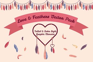 Love & Feathers Vector Pack
