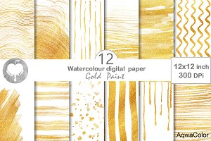 Gold Paint Watercolor Digital Paper