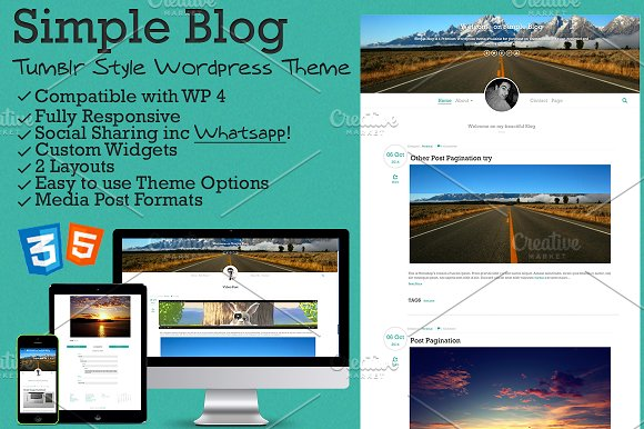 Simple Blog - Tumblr Style WP Theme ~ WordPress Blog Themes ...
