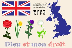 British Floral Symbols, Flag and Map