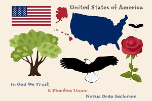 Principal Symbols of USA, Map, Flag