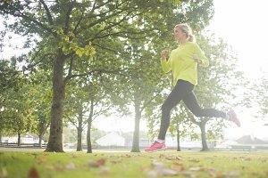 Active pretty blonde jogging