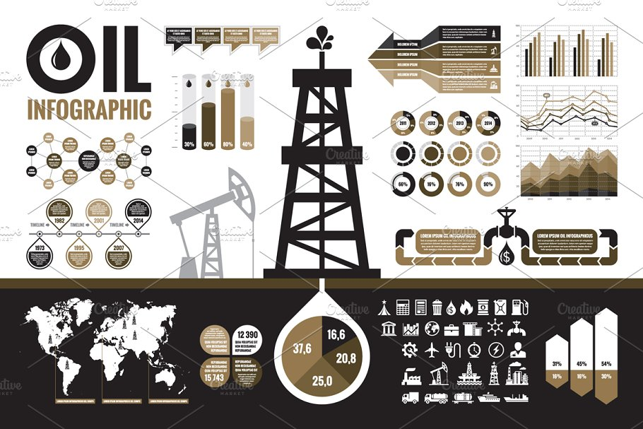aec08e9b9 Oil Infographic Elements ~ Other Presentation Software Templates ~ Creative  Market