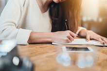 Female student planning her schedule