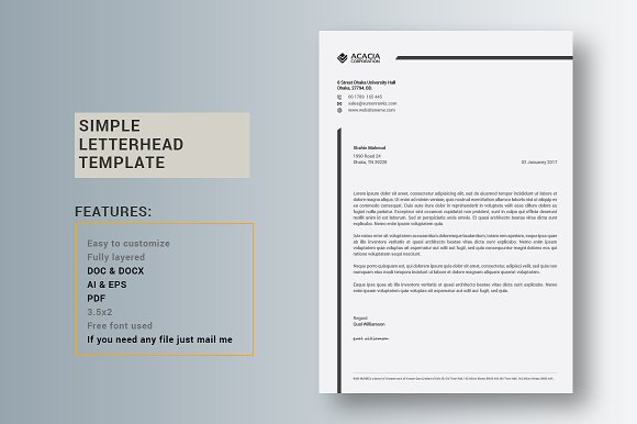 Simple Letterhead ~ Stationery Templates ~ Creative Market