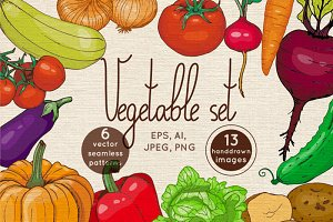 Vector set of hand drawn vegetables