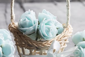 It's spring Time concept, flowers in a small basket