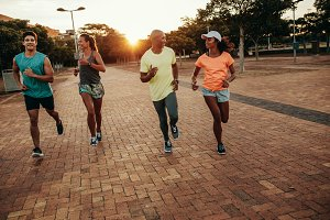 Runners training outdoors