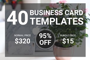 40 Flat Business Card Bundle