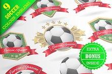 Set of colour soccer emblems