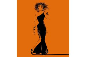 Vector pretty jazz style african woman singer in a long dress.