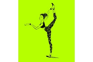 Vector young woman stretching. Healthy lifestyle. Ballet workout.