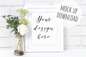 White Frame Mockup Photo Scene