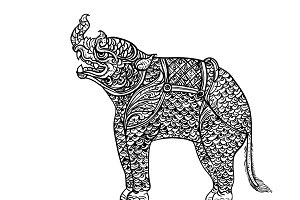 Drawing of rhinoceros,Thai tradition