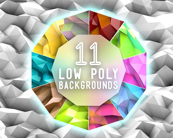 11 Low Poly 3D-Backgrounds