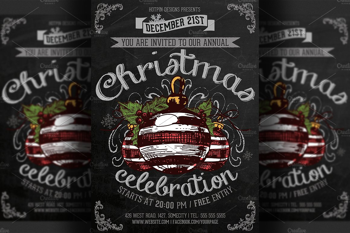 Vintage Christmas Event Flyer Flyer Templates Creative Market