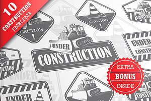 Set of under construction emblems