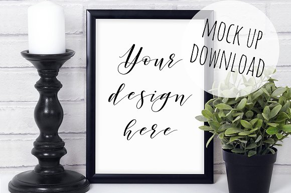 Black Frame Styled Mockup Photo