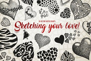Vector sketch Hearts